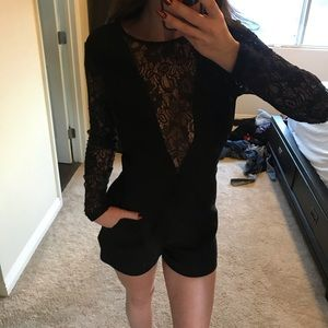 Bebe Lace long sleeve romper